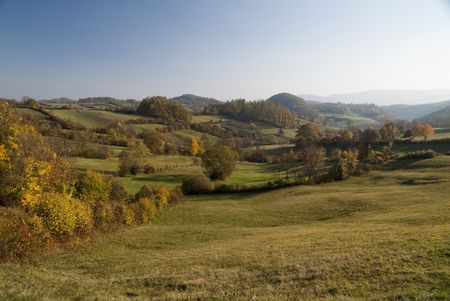 serbia landscape: Beautiful autumn landscape in Serbia,fall colors in nature. Stock Photo