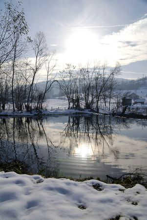 serbia landscape: Beautiful winter landscape in Serbia,winter scene on river. Stock Photo
