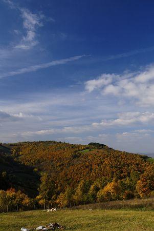 serbia landscape: Beautiful autumn landscape in Serbia,fall colors in nature. Stock Photo