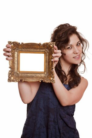 Beautiful woman holding an picture frame photo