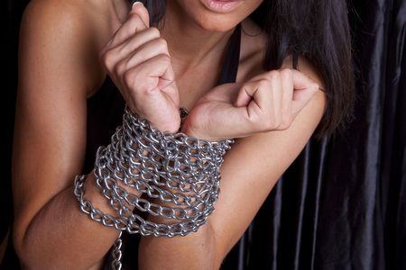 Attravtiv Woman Arms In Chains Stock Photo - 6140228