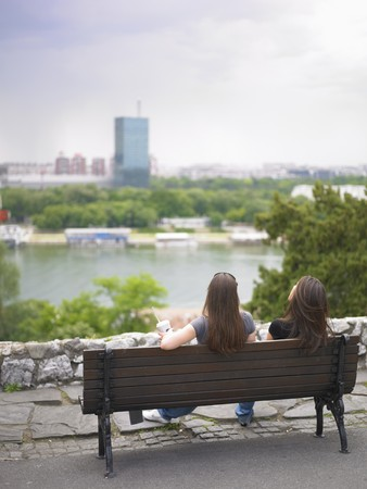 belgrade: Belgrade Lifestyle - friends resting: Panorama of New Belgrade and Sava river, view from Kalemegdan