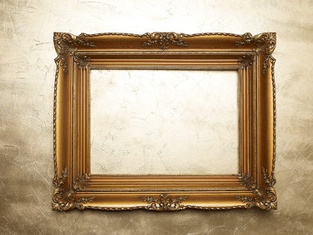 Old Picture Frame On Gold Wall, Design Element