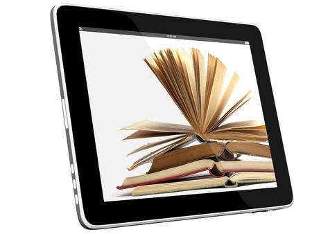 learning computer: Libro e tablet computer modello 3D isolato sul concetto di biblioteca digitale, bianco Archivio Fotografico