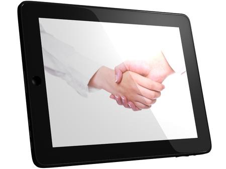 good bey: Handshake, Handshaking on Tablet PC Computer, isolated