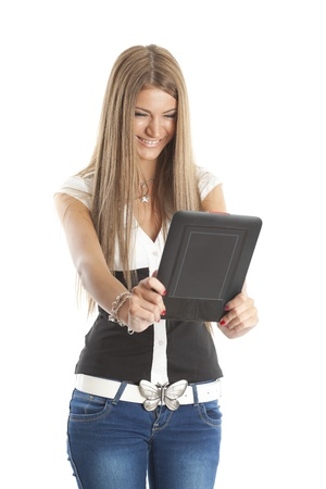Beautiful Smiling Woman Communicate With Tablet Computer, isolate on white Stock Photo - 11267744