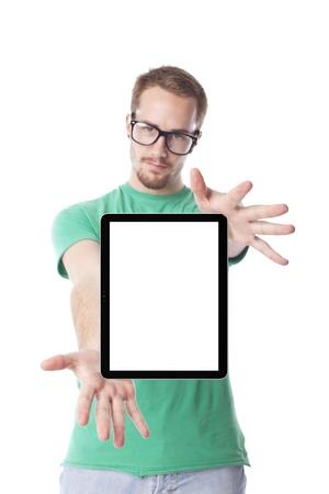 geek: Good Looking Man Nerd Smart Guy Usar el ordenador Tablet