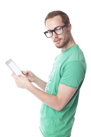 Good Looking Young Nerd Smart Guy Man Using Tablet Computer Stok Fotoğraf