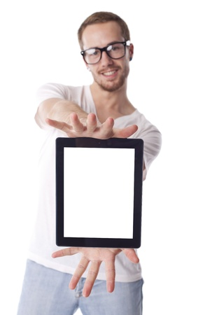 touch screen computer: Good Looking Young Nerd Smart Guy Man Using Tablet Computer Stock Photo