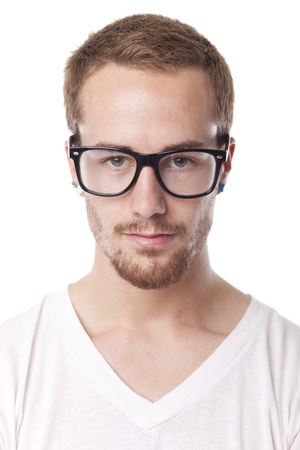 Good Looking Young Man With Retro Nerd Glasses, Portrait on white Stok Fotoğraf