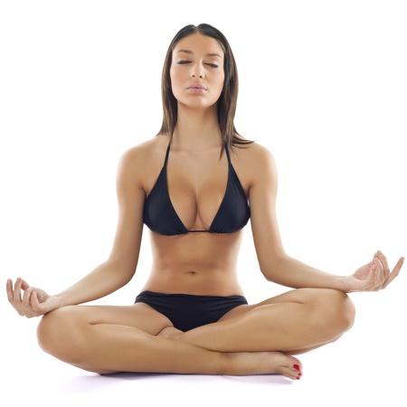 Beautiful Young Woman in Bikini Practice Yoga Meditation  Stock Photo