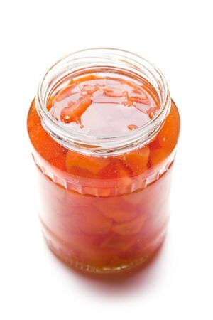 conserved: Quinces Jam in glass, Homemade conserved fruit product Stock Photo
