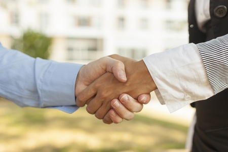 Businesspeople handshake - Woman and men shakinghand Stock Photo - 14620356