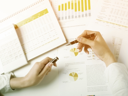 Market Analyze - pen and numbers on paper Stock Photo - 15214096