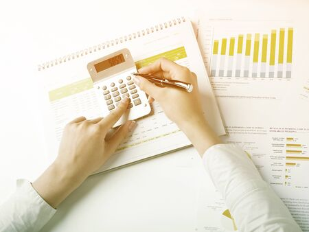 Market Analyze - pen and numbers on paper Stock Photo - 15214087