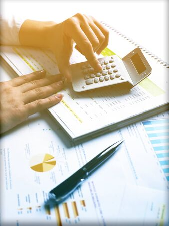 Market Analyze - pen and numbers on paper Stock Photo - 15214056