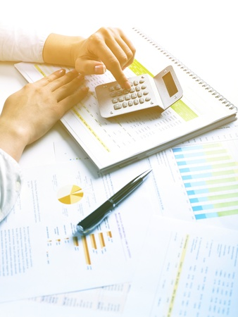 Market Analyze - pen and numbers on paper Stock Photo - 15214050