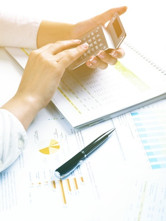 Market Analyze - pen and numbers on paper Stock Photo - 15214041