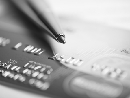 Close up a credit card and pen Stock Photo - 15214066