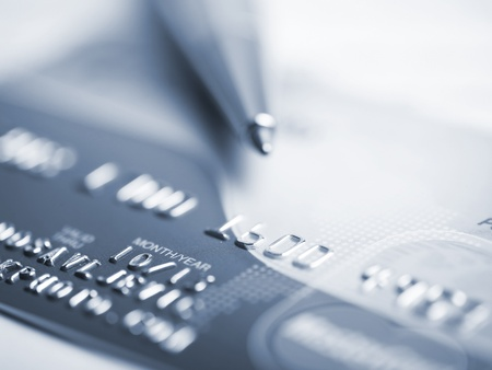 Close up a credit card and pen Stock Photo - 15214101