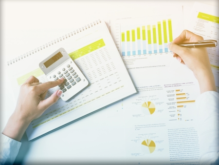 Market Analyze - pen and numbers on paper Stock Photo - 15214062