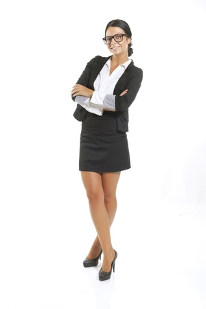 Elegant and cute businesswoman in studio, business woman