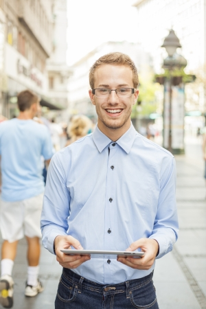 Businessmen Using Tablet Computer in public space Stock Photo - 17456089