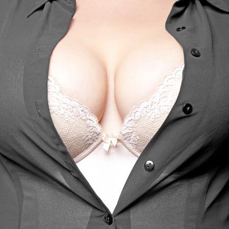 female breast: Big Breasts Lady In Sexy Corset Underwear