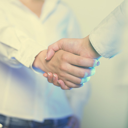 stretta di mano: Due mani in stretta di mano - Business Handshaking
