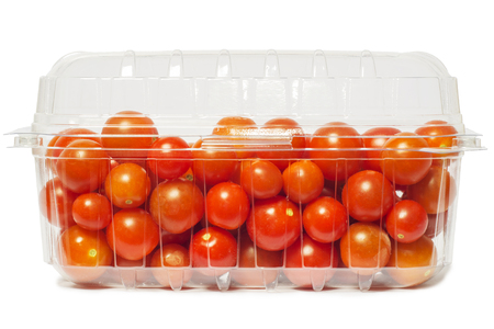 ingradient: Cherry tomato in plastic package, studio isolated on white