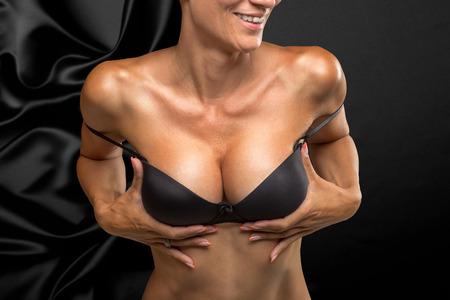 adult breast: Big Breasts Lady In Sexy Corset Underwear