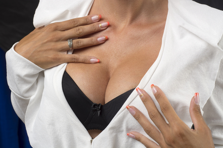 Big Breasts Lady In Balck Sexy Bra and White Jacket