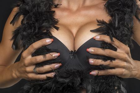 Big Breasts Lady In Sexy Corset Underwear photo