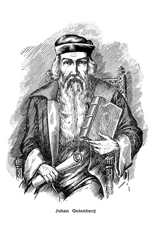 Antique engraving of a portrait of Johannes Gutenberg. German goldsmith and printer, printign inventor Editöryel