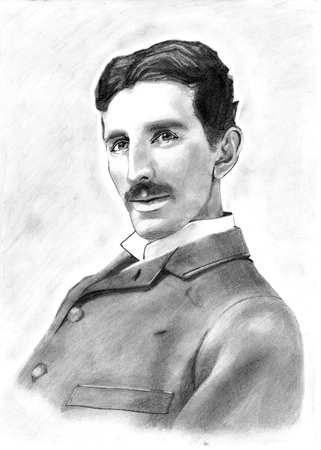 Portrait Drawing of Inventor Nikola Tesla