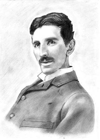 Portrait Drawing of Inventor Nikola Tesla