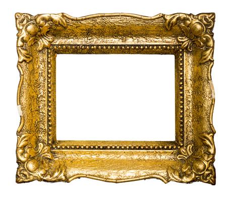 Grote oude gouden afbeeldingsframe, geïsoleerd op wit