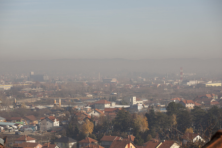 Smog and airpoluton air polution, Europe, Serbia, Valjevo city