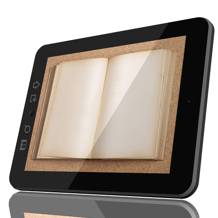 Digital Library Concept - Open Book on teblet computer screen. 3D model isolated on white. Stock Photo