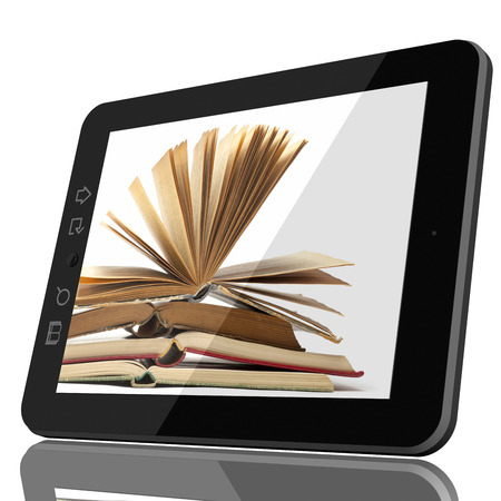 Digital Library Concept CGI - Open Book on teblet computer screen. 3D model isolated on white. Standard-Bild - 103760559