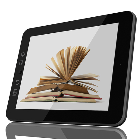 Digital Library Concept - Open Book on teblet computer screen. 3D model isolated on white. CGI Standard-Bild - 103760560