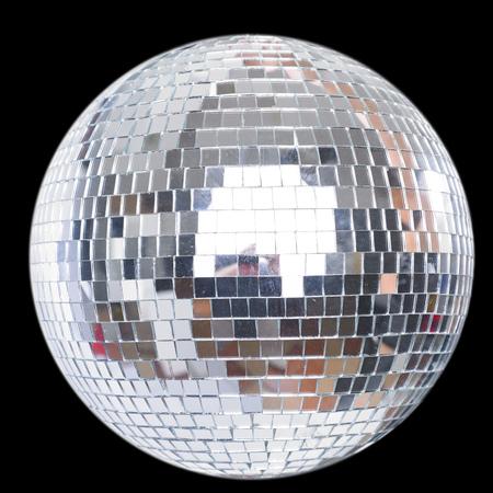 Shining Disco Ball isolated on black background Standard-Bild - 104914064