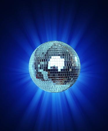 Shining Disco Ball on blue background light rey Standard-Bild - 104910827