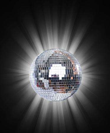 Shining Disco Ball on blue background light rey Standard-Bild - 104914108