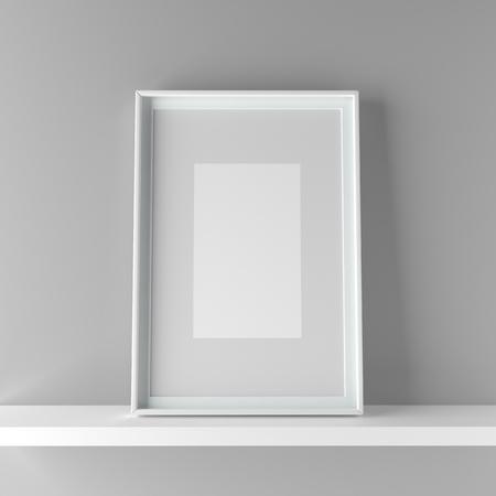 Elegant frame stand on the shelf. 3D Graphic illustration render Standard-Bild - 104914111