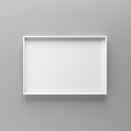 Elegant and minimalistic picture frame standing on gray wall. Design element. 3D render, light from top Standard-Bild - 104914213