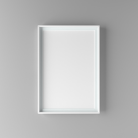 Elegant and minimalistic picture frame standing on gray wall. Design element. 3D render Standard-Bild - 104914214