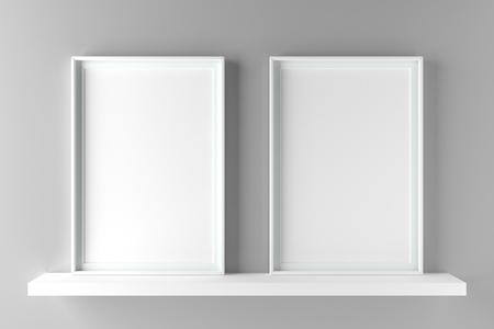 Two fundamental and elegant frames standing on shelf, mock up poster on wall. 3D illustration render Standard-Bild - 104914215