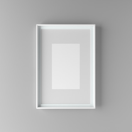 Elegant and minimalistic picture frame with parspartu standing on gray wall. Design element. 3D render Standard-Bild - 104914216