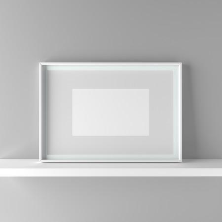 Elegant frame stand on the shelf. 3D Graphic illustration render Standard-Bild - 104914217